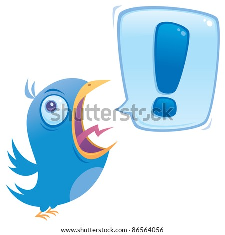 Vector cartoon illustration of a shouting bluebird with exclamation point word bubble. - stock vector