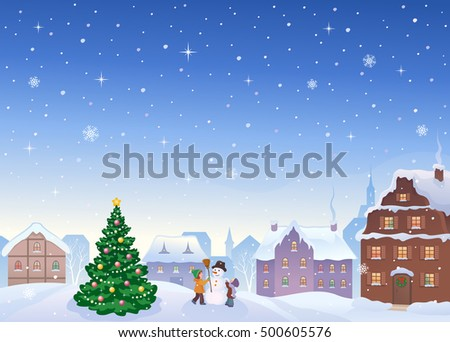 Vector cartoon illustration of a snowy small town with kids making a snowman