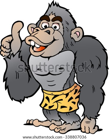 Vector Cartoon illustration of a Strong Gorilla giving Thumb Up - stock vector