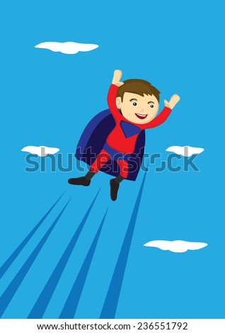 Vector cartoon illustration of a young boy wearing red and blue super hero costume with cape flying in the sky   - stock vector