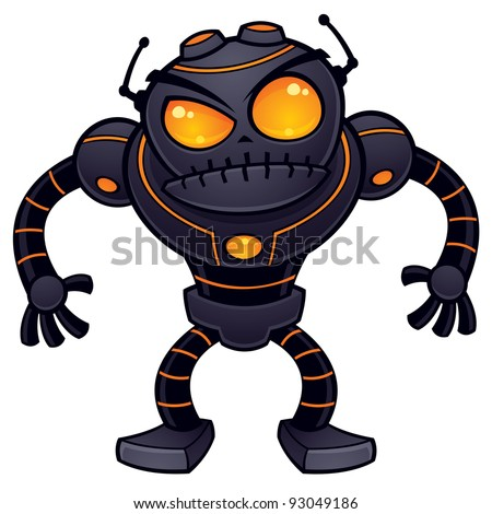 Vector cartoon illustration of an angry robot getting ready for battle. This mean and nasty robot is dark gray with orange eyes and highlights.