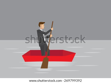 Vector cartoon illustration of businessman paddling with wooden oar in a small boat surrounded by water.