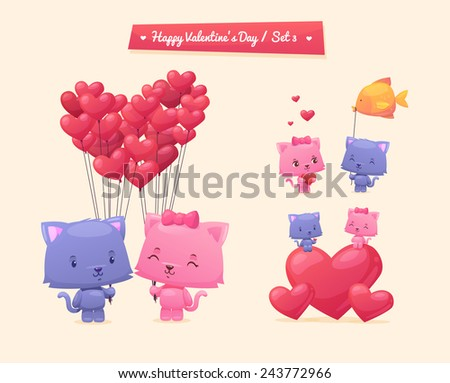 vector cartoon illustration of couple cute cats idea for greeting card with happy wedding or - Cartoon Valentine Pictures