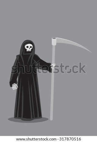 Vector cartoon illustration of Grim Reaper, character personification of Death, skeleton dressed in black hooded cloak costume and carrying a scythe isolated on plain grey background.  - stock vector