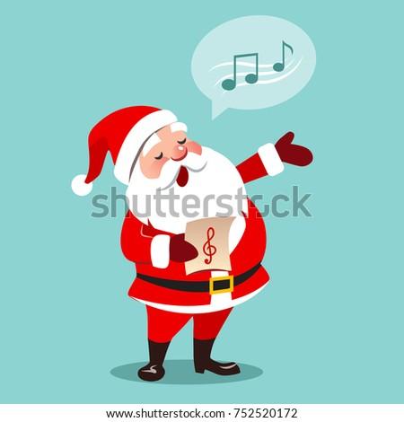 vector cartoon illustration santa claus singing stock vector hd