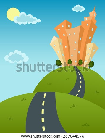 Vector cartoon illustration of summer city landscape with skyscrapers on meadow or hills trees,clouds, road, sun.