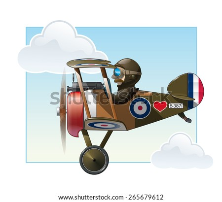 Vector cartoon illustration of the British WWI fighter biplane Vickers flying. - stock vector