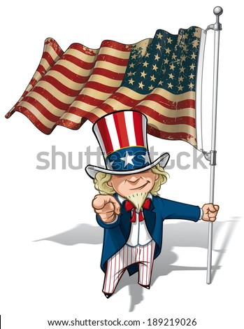 Vector Cartoon Illustration of Uncle Sam holding a WWI-WWII period 48 star US flag. Flag's texture and sepia color can be removed by turning the respective layers off. - stock vector