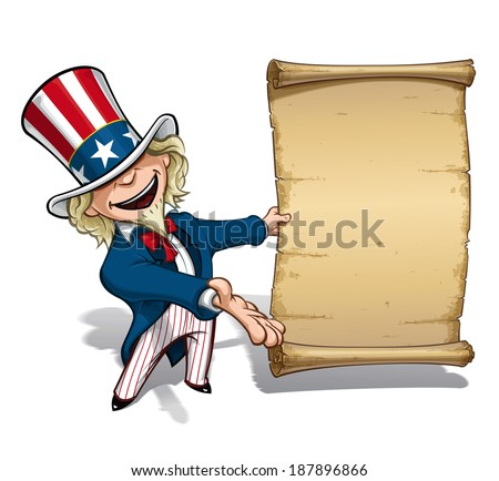 Vector Cartoon Illustration of Uncle Sam presenting a declaration-like papyrus. - stock vector