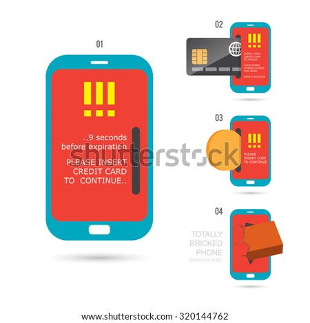 Vector cartoon illustration of various phone troubles. - stock vector