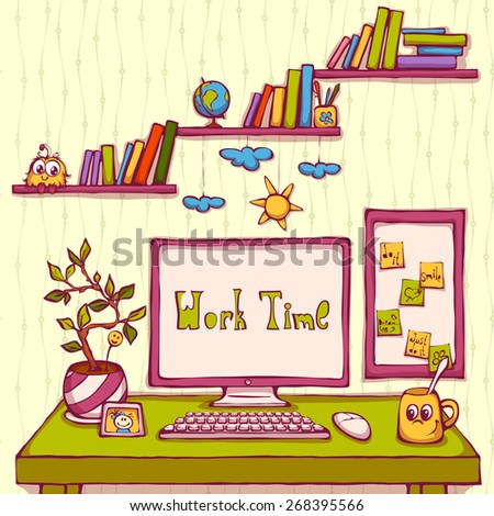 Vector cartoon illustration of workplace in office. - stock vector