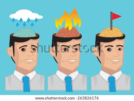 Vector cartoon illustration showing the brain of modern man in different emotional state, namely sadness, anger and happy. - stock vector