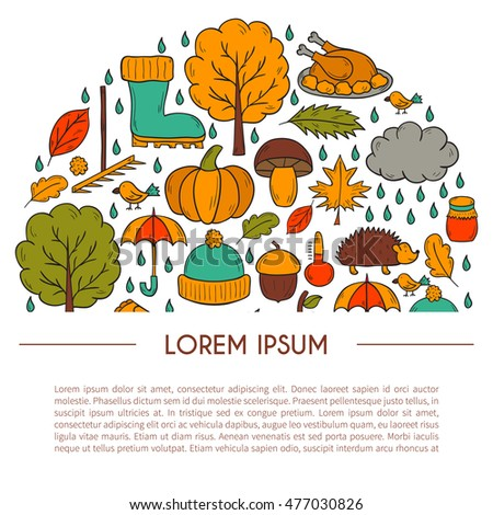 Vector cartoon illustration with hand drawn autumn background. Pumpkin pie, turkey, autumn leaves, rain , umbrella, harvesting concept. Vector september, october.