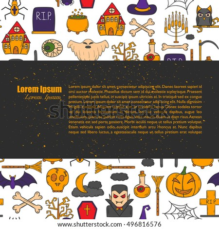 Vector cartoon illustration with hand drawn Halloween background. Trick or treat pattern for Halloween background, invitation, card, voucher. Halloween vector cartoon objects