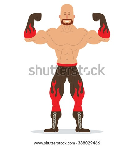 Vector cartoon image of a bald wrestler with a beard, in black pants and gloves with red flames standing in the pose of a bodybuilder on a white background. Wrestling. Flat image. Vector illustration.