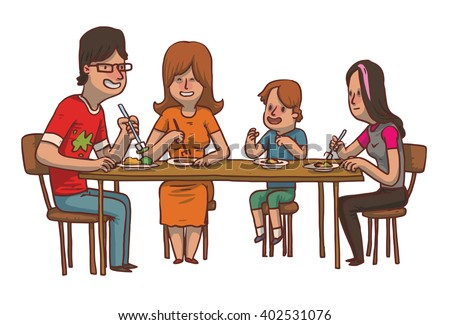 Vector cartoon image of a family dinner. Father, mother, daughter and son sitting at the table and eat food on a white background. Family idyll. Card. Vector illustration. - stock vector