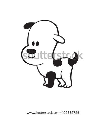 Vector cartoon image of a funny little dog black-white colors standing on a white background. Made in monochrome style. Positive character. Vector illustration.
