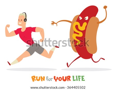 Vector cartoon image of a man with blond hair in a pink t-shirt and gray shorts runaway from a huge colored Hot Dog on a white background. In the theme of a healthy lifestyle. Vector illustration. - stock vector