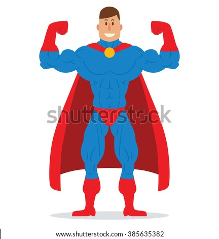 Vector cartoon image of a muscular man superhero with brown hair in a blue suit, red boots, gloves and red cloak, standing in a pose bodybuilder and smiling on a white background. Vector illustration.