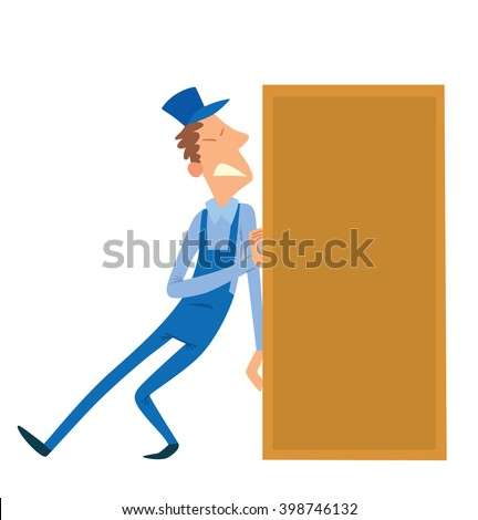 Vector cartoon image of a porter man with dark brown curly hair. Man in blue overalls and cap. Porter man is pushing a big yellow rectangular box to the right. Cartoon loader man. Vector illustration. - stock vector