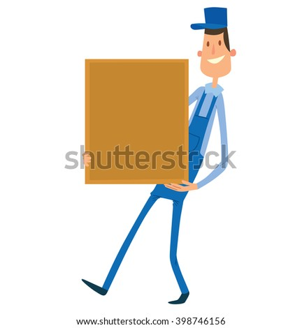 Vector cartoon image of a porter man with dark hair. Man in blue overalls and cap. Porter man is carrying a large square yellow box in his hands. Cartoon loader man. Vector illustration.  - stock vector