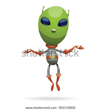 Vector cartoon image of funny green alien with big eyes and a small antennas on his his head in gray-orange spacesuit, smiling and soaring on a white background. Vector illustration. - stock vector