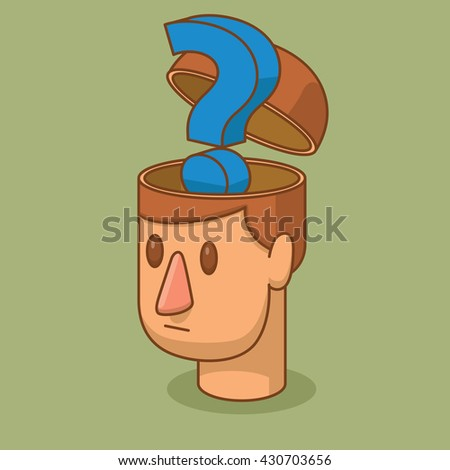 Vector cartoon image of the head of a man with brown hair and with an open braincase from which appears the big blue question mark on a green background. Business, success. Vector illustration. - stock vector