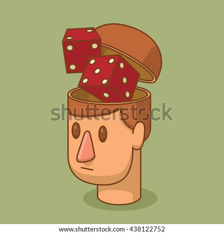 Vector cartoon image of the head of man with brown hair and with an open braincase from which appears a pair of red dice on a green background. Excitement, casino. Vector illustration. - stock vector