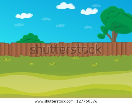 Vector cartoon landscape. Arcade game world. Wooden fence on the abstract background of a summer day. - stock vector