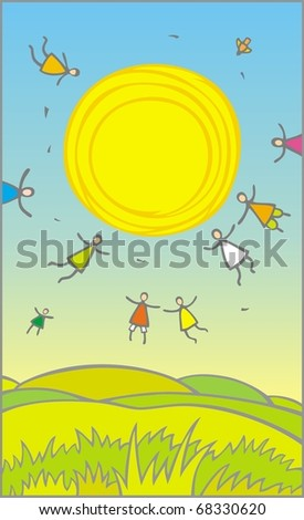 Vector cartoon landscape with flying people