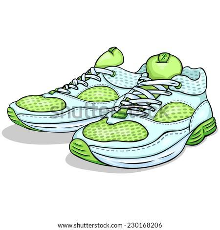 Vector Cartoon Light Green Running Shoes - stock vector