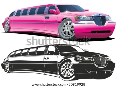 Vector cartoon limousine color and b/w versions - stock vector