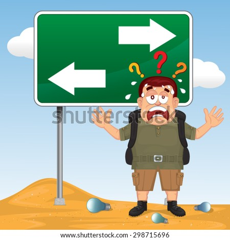 Vector Cartoon lost confused man in front of a choice, illustration   - stock vector