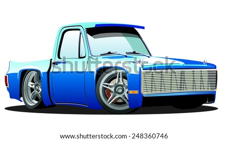Vector cartoon lowrider pickup. Available EPS-10 format separated by groups for easy edit - stock vector