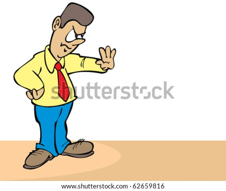 vector cartoon man holding out hand to say no - stock vector