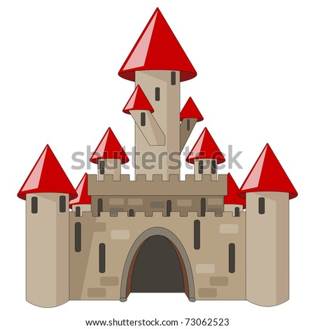 vector cartoon medieval castle isolated on white - stock vector