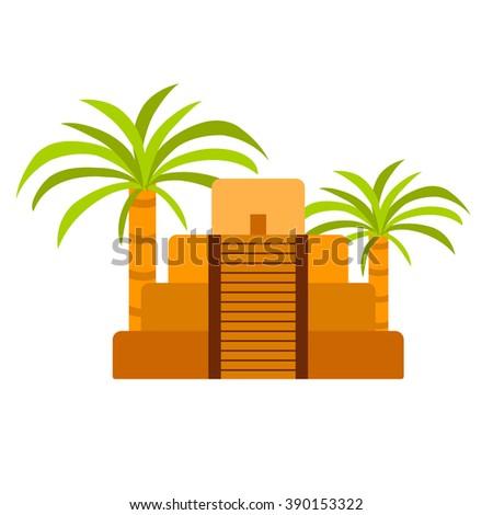 Vector cartoon mexico pyramid.  - stock vector