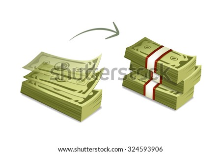 Vector cartoon money bundles illustration. money accumulation illustration