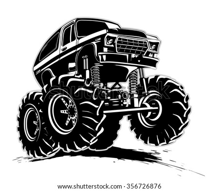 Vector Cartoon Monster Truck. Available EPS-8 vector format - stock vector