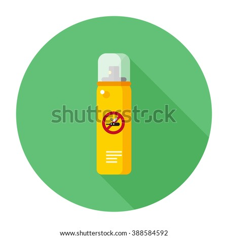 vector cartoon mosquito repellent spray cans / cute stop mosquito illustration / flat style, icon template, circle, isolated / yellow and green on white - stock vector