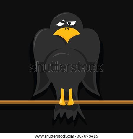vector cartoon of a crow - stock vector