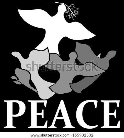 Vector cartoon of a dove holding an olive leaf wreath leading a flock of flying bird for the concept of peace. - stock vector