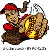 Vector Cartoon of a Fastpitch Softball Player Pitching - stock vector