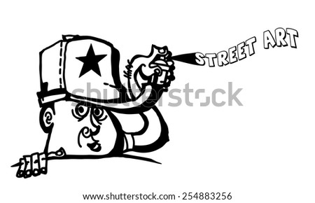 Vector cartoon of a funny graffiti artist spray paint the word street art.  - stock vector