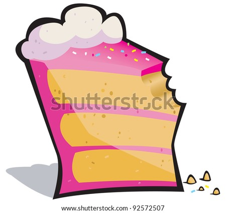 Vector cartoon of a pretty pink slice of cake missing a bite! - stock vector