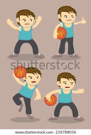 Vector cartoon of a young basketball player in four different poses - stock vector