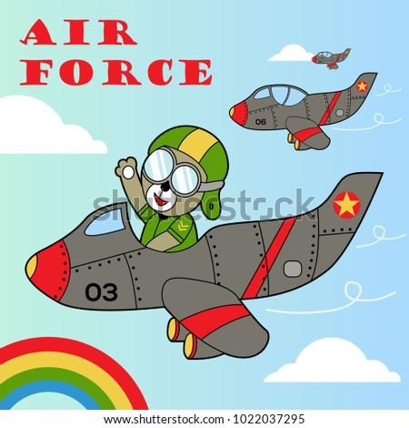 Vector Cartoon Animal Soldier On Jet Stock Vector 1022037295 ...