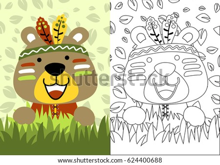 Vector Cartoon Bear Little Indian Coloring Stock Vector 624400688 ...
