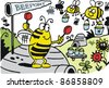 Vector cartoon of bees landing at hive airport. - stock vector