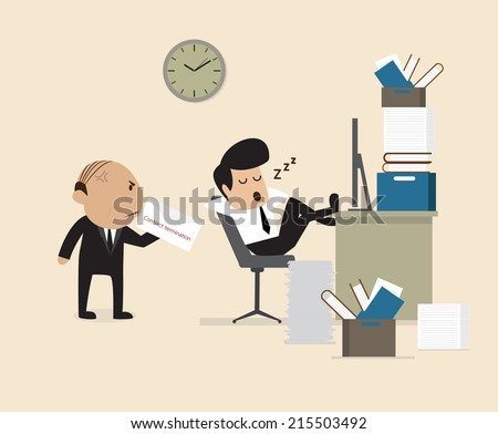 Vector cartoon of Boss see Employee fall asleep during working - stock vector